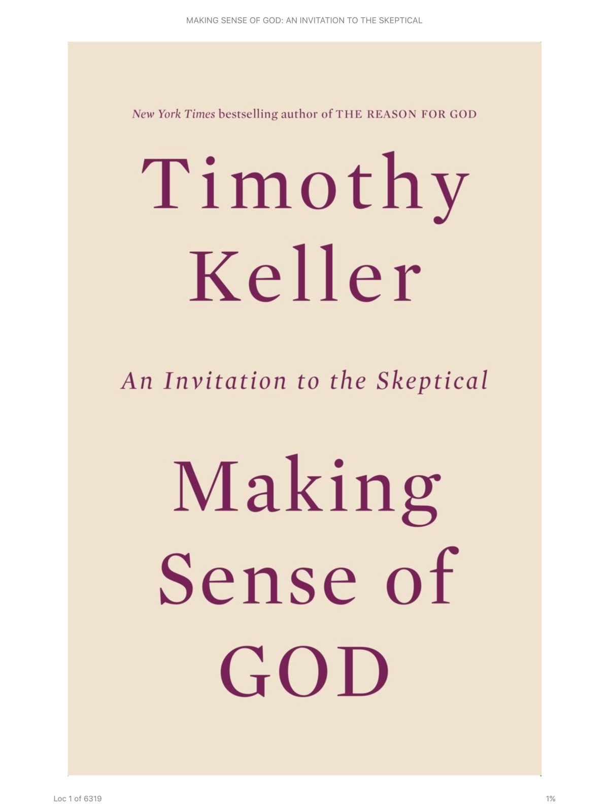 Making Sense of God by Timothy Keller: aReview